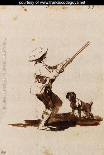 A hunter loading his gun accompanied by his dog Goya