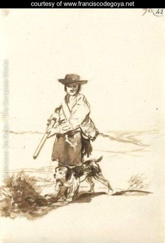 A hunter with his dog in a landscape Goya