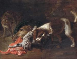 Bernaerts nicasius a spaniel and a cat fighting