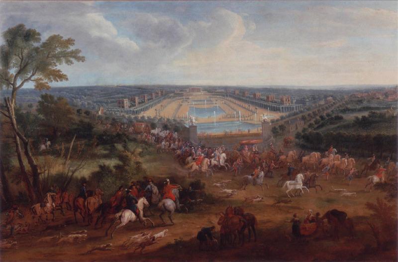 Depart de la chasse avec louis xiv au chateau de marly Pierre-Denis Martin 1663 1742