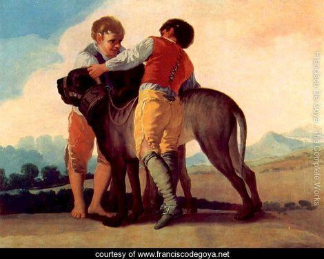 Magnifique dogue espagnol du 18e siècle Francisco de Goya 1776-1828