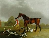 Edwin cooper a huntsman leading a bay hunter with hounds outside kennels
