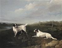 Edwin cooper spaniels in a river landscape