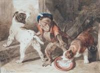 Edwin henry landseer chiens et singe