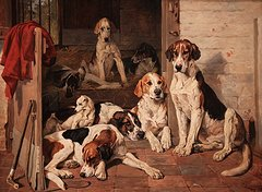 Foxhounds and terrier in a stable interior john emms