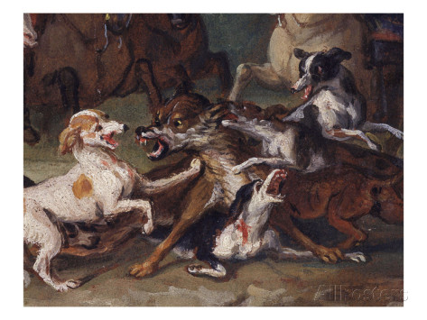 Francois Desportes wolf attacked by hounds wolf hunting oil sketch  1720