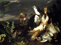 Jan fyt a hunting still life with a partridge a mallard a hare and a spaniel