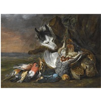 Jan fyt a still life in an exterior with dead game including a brace of grouse a kingfisher and songbirds
