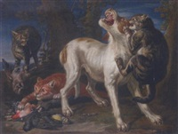 Jan fyt cats attacking a dog in a landscape