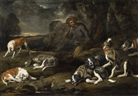 Jan fyt landscape with dogs and a huntsman