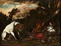 Jan fyt stilleben med jakthund och faglar
