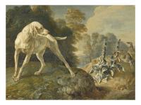 Jean baptiste oudry chien d arret et deux perdrix rouges