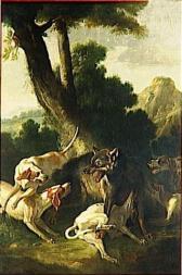 Oudry j- b  hallali du loup