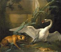 Oudry dogue attaquant un cygne