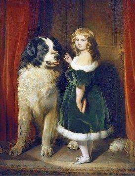Grace Maran with a newfound land dog Philip Reinagle  1749-1833