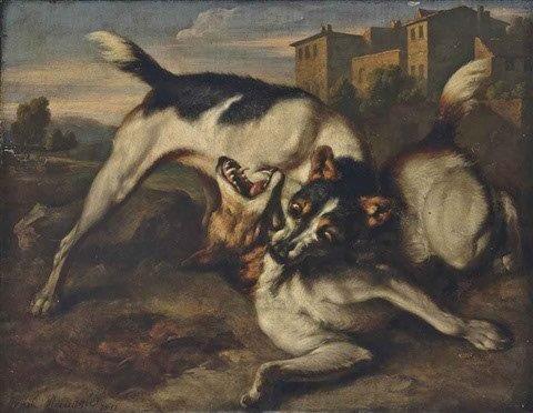 The dog fight.  Philip Reinagle  1749-1833