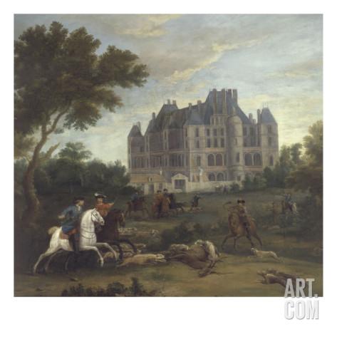 Pierre-Denis Martin vue du chateau de madrid dans le bois de boulogne vers 1722 avec chasse au cerf