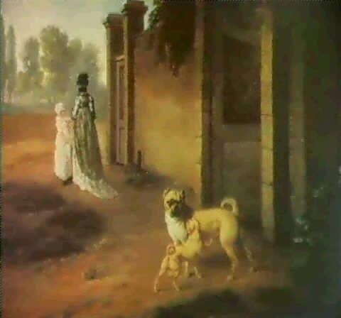 Pug dog with a puppy by a gate with a lady and her child Philip Reinagle 1749-1833