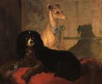 Sir edwin henry landseer a whippet and a king charles spaniel on a red cushion