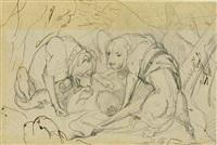 Sir edwin henry landseer alpine mastiffs reanimating a distressed traveller study