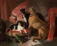 Sir edwin henry landseer hector nero and dash with the parrot lory