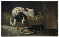 Sir edwin henry landseer hunting dog and puppy in barn