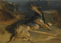 Sir edwin henry landseer study of a wounded hound from walter scotts the talisman