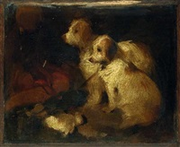 Sir edwin henry landseer study of two dogs
