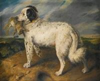 Sir edwin henry landseer the champion Venus a landseer newfoundland with a rabbit