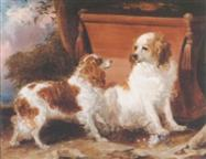 Sir edwin henry landseer two brown and white spaniels beside a velvet covered box stool in a landscape
