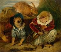 Sir edwin henry landseer zirkusaffe mit hund und hase